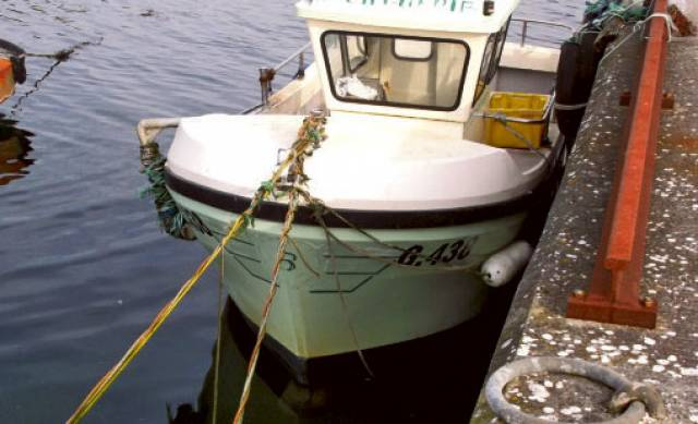 Patsy Kelly's lobster boat Loch Corrib II pictured at Ballinacourty pier a month after the incident