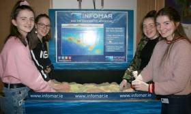 Eabha Mevlin, Grace Moran, Leah Sweeney and Clodagh Moran at the INFOMAR AR sandbox, a scientific educational tool to help users to explore the importance of topography, contouring, geology and seabed mapping