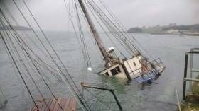 Regina Caelis is still tied to the harbour and lying on her starboard side at Portaferry in Northern Ireland