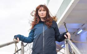 Artist Louise Manifold on the Celtic Explorer a year ago at the start of the Aerial Sparks project
