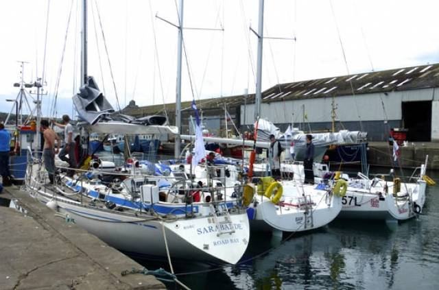 The classic Swan 47 Sarabande (left) in Wicklow after winning Class 2 in the Volvo Round Ireland Race 2016. Berthed outside her is Conor Fogerty's Sunfast 3600 Bam!, currently lying 13th overall and fourth in IRC 3 in the RORC Ouessant Race