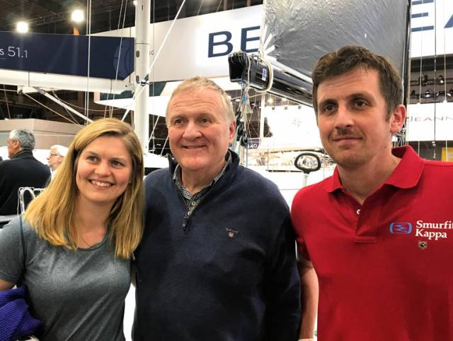 Joan Mulloy, Irish Sailing President Jack Roy, and Tom Dolan at the Paris Boat Show