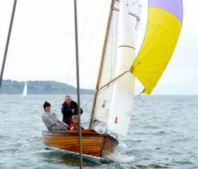 Jonathan & Carol O'Rourke (NYC) on their successful Mermaid Class Tiller Girl in happier times