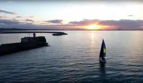 Paul O'Higgins Rockabill II approaches the ISORA finish line at Dun Laoghaire Harbour on Saturday. See drone video below.