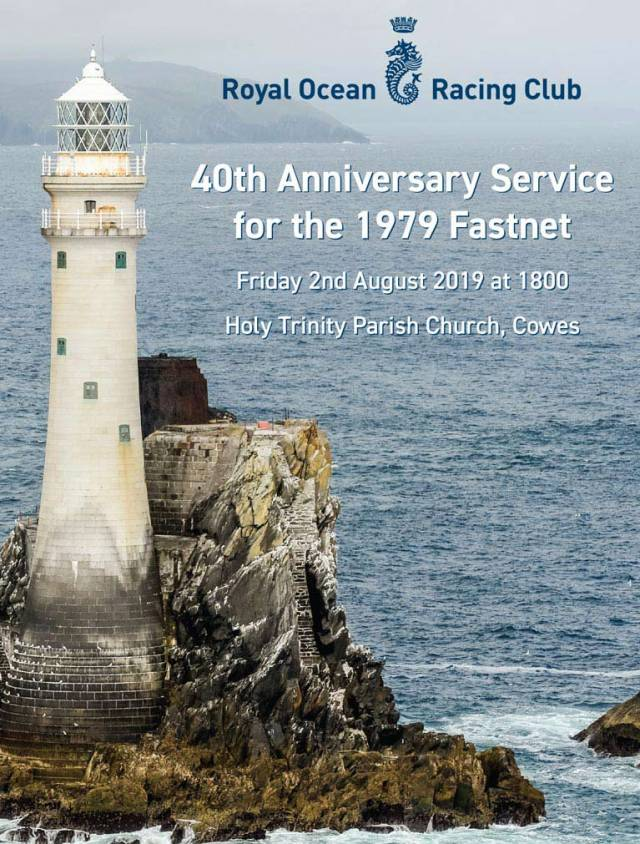 The Fastnet Race memorial service notice issued by the RORC