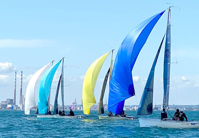 SB20 sportsboats are contesting Western Championships honours on Dublin Bay this weekend