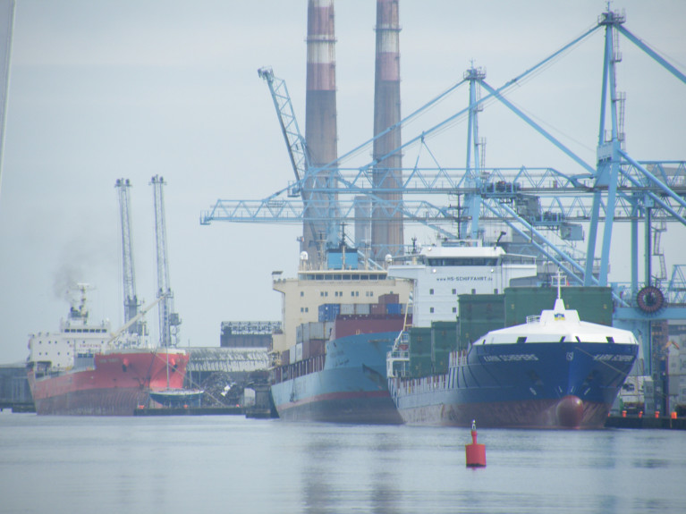 The Climate Action Bill will set in law the principle of carbon neutrality by 2050. Above the south bank quays of Dublin Port with the MTL Terminal (Lo-Lo) in the foreground.