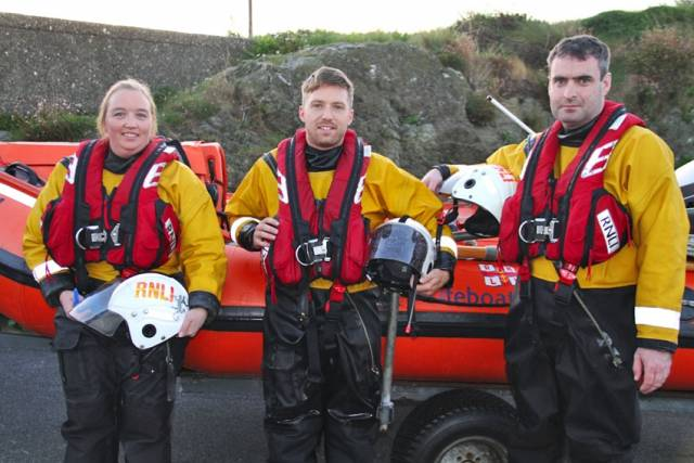 Wicklow RNLI inshore lifeboat crew Carol Flahive, Ian Thompson and Peter McCann