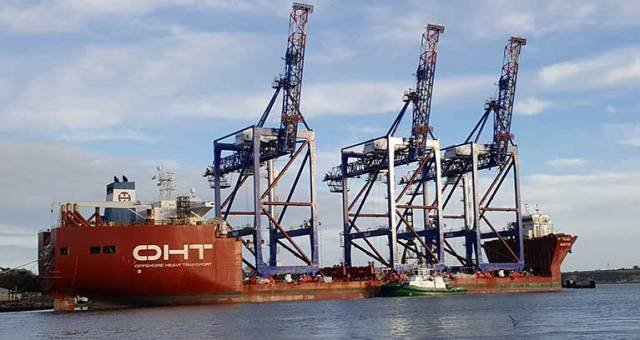 Cranes Loaded On Board Albatross Ship & Ready for Departure From Cork Harbour This Week (VIDEO)