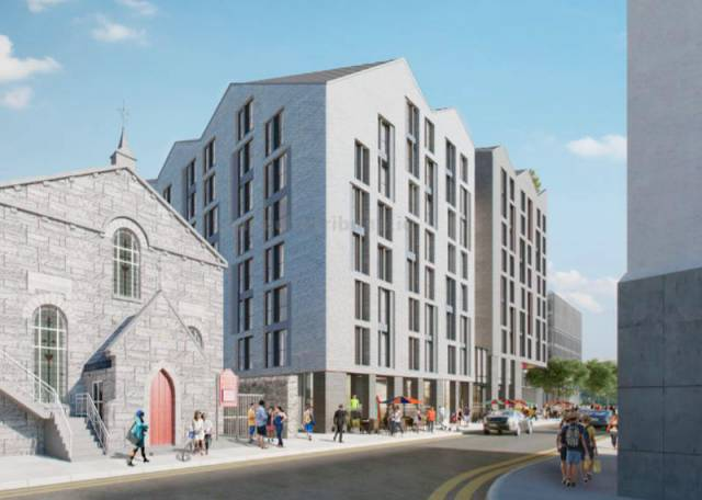 An artist's impression of the new student blocks earmarked for Queen Street in Galway Docks