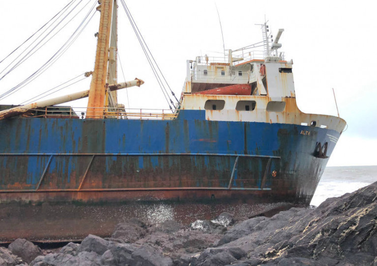 Abandoned Cargo Ship 'Alta' Runs Aground On Cork Coast