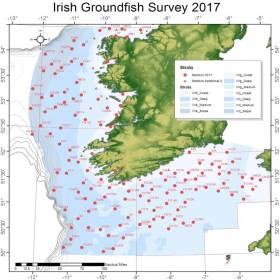 Map of the approximate haul locations in this year's Irish Groundfish Survey off the South and West Coasts
