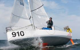 Tom Dolan in his Pogo 3 IRL 910. Although he has several sponsorship support packages in place, he still needs a main sponsor for the big event, the Mini-Transat in October, and so his boat is sailing the current Trans Gascogne 2017 under the name of Still Seeking A Sponsor