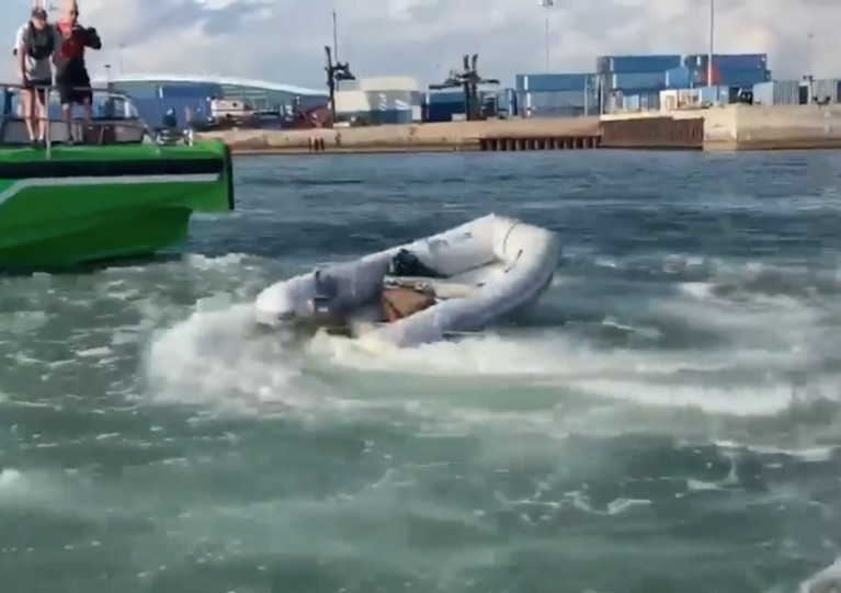 The dinghy was spinning in circles when emergency responders arrived at the scene off Miami, Florida on Monday 12 April
