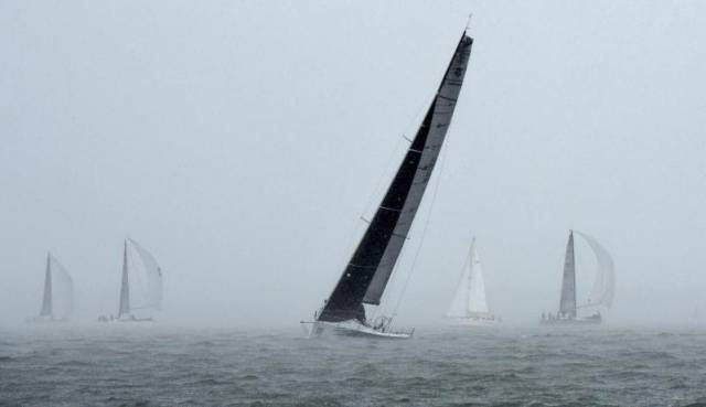 Otra Vez Poor visibility and torrential rain for day two of the RORC IRC National Championship. Rick Tomlinson captures William Coates' Ker 43 Custom, Otra Vez in eerie conditions