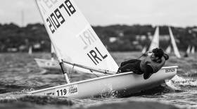 Ballyholme's Liam Glynn gets to grips with tough conditions in the Bay of Tallin at the Laser Radial Youth Europeans Championships