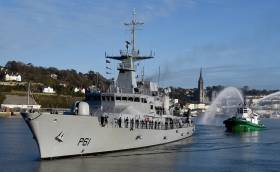 A new tug to Cork Harbour, Stevns Breaker with water display to welcome return of LE Samuel Beckett to Haulbowline Naval Base after a harrowing three-month humanitarian mission in the Mediterranean.