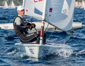 A slight touch of maturity…….Dun Laoghaire's Sean Craig – Helmsman's Champion of Ireland in 1993 – racing in the Laser Masters Worlds in Croatia last September. This year's mega-fleet Masters Worlds will be in Dun Laoghaire from 7th to 15th September.