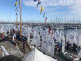 The RIYC Optimist Nationals Fleet prepare to launch on Day two