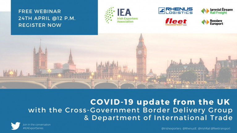Irish Exporters Association is to host a free webinar: Covid-19 Update from the UK, where speakers from both sides of the Irish Sea will take part in the event. To join in you must though register online before the event begins tomorrow, Friday at 12 noon.