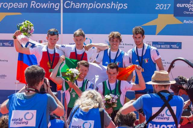 European gold medallists Mark O'Donovan and Shane O'Driscoll with Russia (silver) and Italy (bronze).