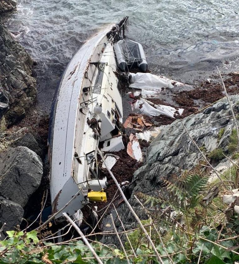 A yacht wrecked at Crookhaven in Storm Francis