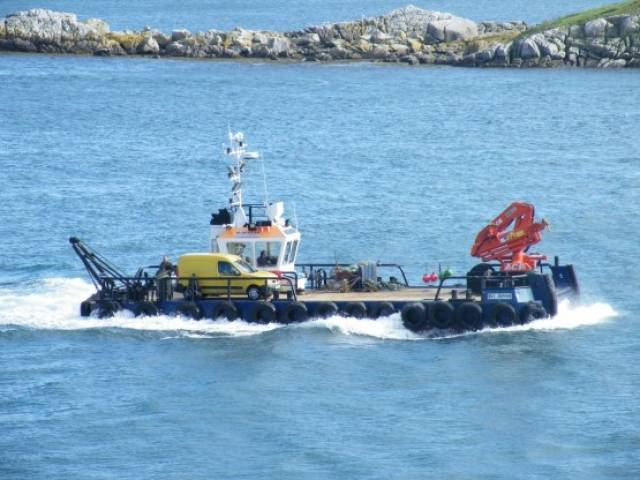 Multicat workboat, Sgt Pepper seen making a transit of Dalkey Sound, was among the recent customers of Mooney Boats, Co. Donegal