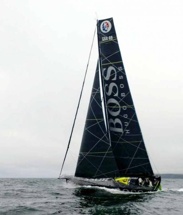 Nin O'Leary's Vendee Globe entry Hugo Boss sailing off the Cork coast