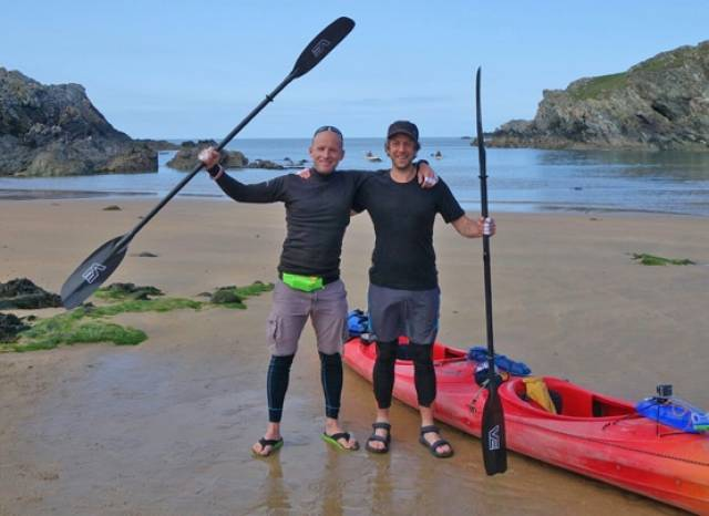 Mike Alexander with kayaking novice Alan Creedon after reaching Dun Laoghaire from Holyhead in a gruelling 22-hour paddle across the Irish Sea