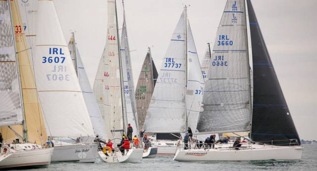 J109 Juggerknot (Andrew Algeo of the Royal Irish Yacht Club) port tacks a 23–boat line shy fleet in the first ISORA race of the season off Dun Laoghaire