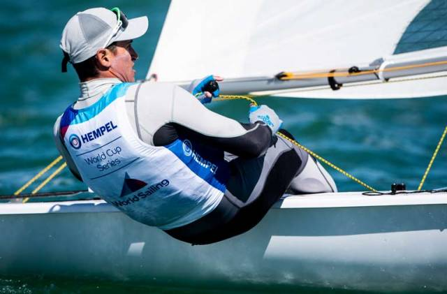Finn Lynch competing in the first rounds of the Miami World Sailing Cup