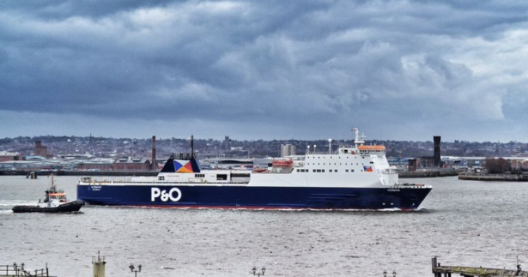 Norbank, a ro-ro passenger/freight vessel operated by P&O Ferries on the Dublin-Liverpool (as above) route and where a crew member tested positive for Covid-19. The (ropax) ferry has been taken out of service at Seaforth (Liverpool Docks) where it still remains. AFLOAT today also confirms as the Norbank occupies a berth at a 'lay-by' quay within Seaforth Dock.