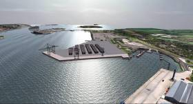 A 2015 artists Impression of How the Port of Cork's new container terminal will look once complete