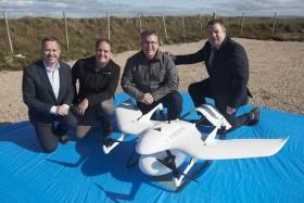 Pictured (l-r): Professor Derek O'Keeffe, NUI Galway, Steven Flynn, Skytango, Wayne Floyd, Survey Drones Ireland and Mark Daly, Vodafone Ireland with the world's first diabetes drone. The drone completed the first autonomous, beyond visible line of sight drone delivery of insulin, connected by Vodafone IoT, from Connemara Airport to Inis Mór in the Aran Islands. The diabetes drone was given special research permission from the Irish Aviation Authority to show the possibility of future deliveries of this kind within planned drone corridors. Photo: Andrew Downes, Xposure