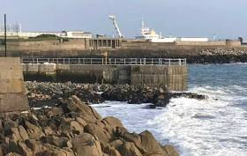 The partially completed new jetty at the Dun Laoghaire Baths site photographed this week at low tide. When finished DLR says the pier will permit swimmers to enter deep water clear of the rocks at low tide