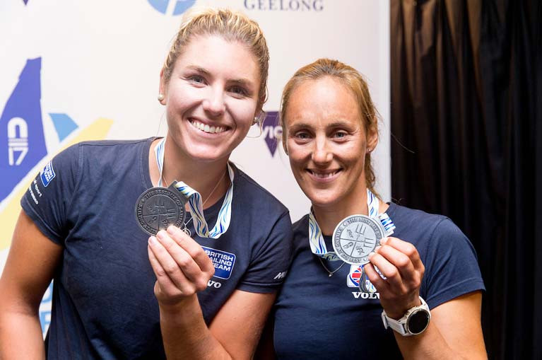 Saskia Tidey (left) and Charlotte Dobson with their world championship silver medals in Geelong