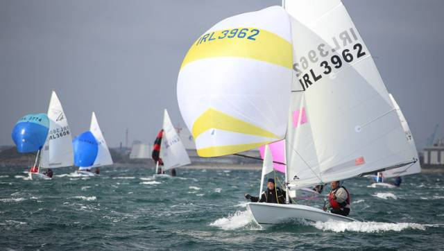Flying fifteens competing in this month's Flying Fifteen National Championships on Dublin Bay