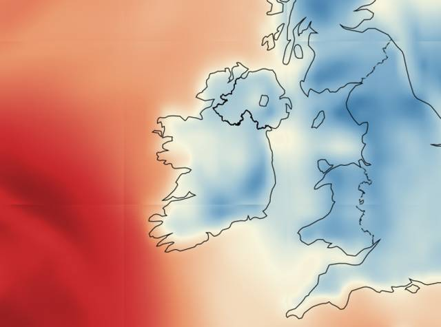 The wind speed projection for Ireland for 2am on Tuesday morning 6 February shows high winds approaching from the west
