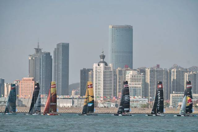 Sails against the Qingdao skyline in the Mazarin Cup, the second stage of the 2017 Extreme Sailing Series