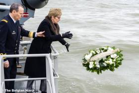 On board the Belgium Navy's BNS Castor, British Ambassador to Belgium Alison Rose who laid a wreath at the location of where the ferry disaster took place off Zeebrugge in 1987