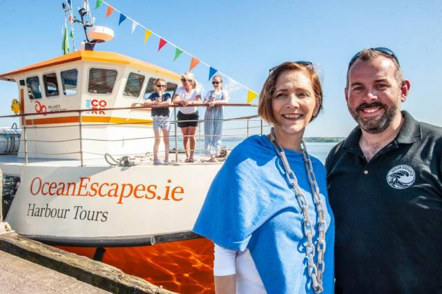 At the launch of a new 72-seater tour boat for the summer season connecting Cobh and Cork City. Afloat adds the tour boat named Cailin Ór has served previous careers involving locations among them the Cliffs of Moher, the Aran Islands and a stint spent in western Scotland.