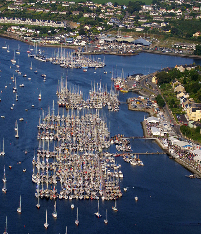 A previous edition of Royal Cork Yacht Club's Cork Week Regatta fleet moored at Crosshaven