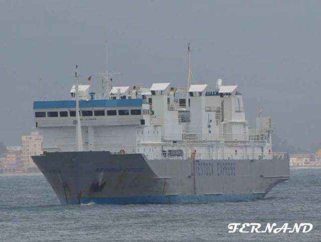 The distinctive ventilation shafts of the livestock-carrier, Brahman Express which Afloat tracked in the Irish Sea this afternoon having departed Greenore Port is bound for Turkey