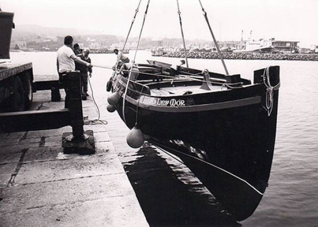 The Galway Hooker An Lady Mor being re-launched after restoration in Howth by Mick Hunt in 1985. Photo: W M Nixon