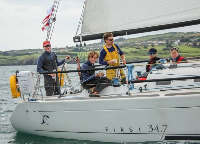 Adelie, the 2015 winner of the DBSC Turkey Shoot Series on Dublin Bay, also competed in the 2016 Round Ireland Race, pictured here prior to the Wicklow start last June