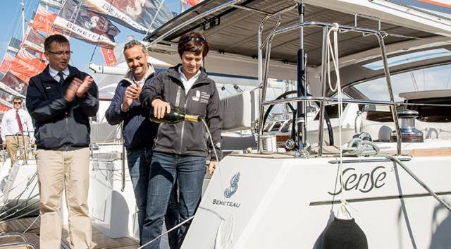 New launch (from left to right) Jean- François Lair, Beneteau, Gianguido Girotti, Beneteau, and Dame Ellen MacArthur christen the new Beneteau Sense 57 at Southampton Boat Show
