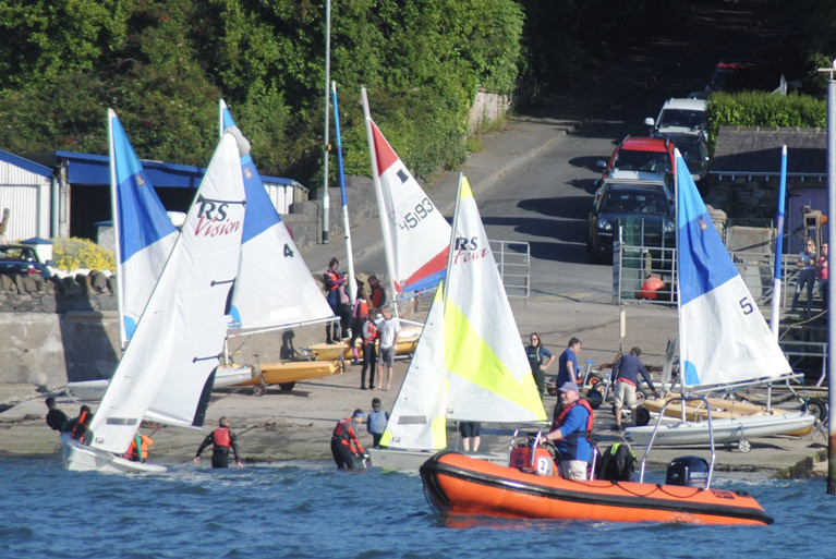 Royal North Of Ireland cadets launch for sailing lessons on Belfast Lough