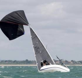 Cobh Pirate had a spinnaker malfunction during windy weather during yesterday's Coutts Quarter Ton Cup on the Western Solent