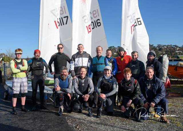 Monkstown Bay Laser sailors (from left) article author Chris Bateman, Barry O'Sullivan, Charles Dwyer, William O'Brien, Arthur O'Connor, Rob Howe, Emmet O'Sullivan, Colin Johns, Robbie O'Sullivan Bottom- Paul O'Sullivan, Ronan Kenneally, Sophie Crosbie, Harry Pritchard and Alan Fehily