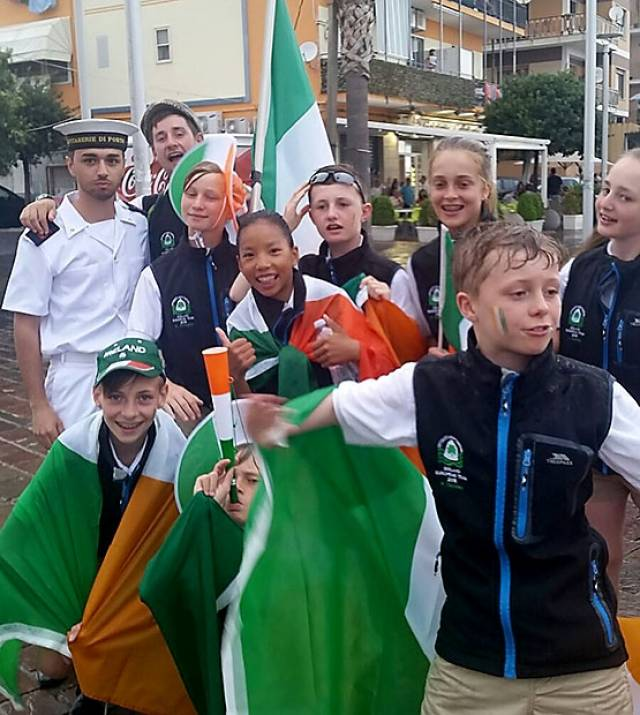 The Irish 'Oppie' Euro team in Italy this week include Alana Coakley RstGYC, Fiona Ferguson NYC, Leah Rickard NYC, Moss Simmington RstGYC, David White Team Coach, Hugh Turvey NYC and HYC, Michael Crosbie RCYC, Harry Tuomey RCYC and Conor Gorman NYC